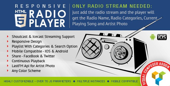 HTML5 Radio Player for Visual Composer Addons Bundle