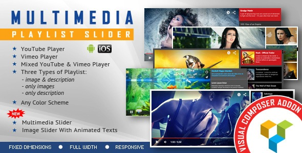 visual composer addons - multimedia playlist slider