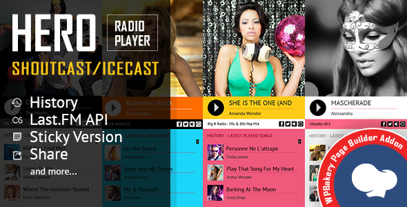 Hero - Shoutcast and Icecast Radio Player With History - visual composer addons